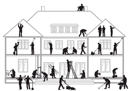 Bauhandwerker bei der Arbeit